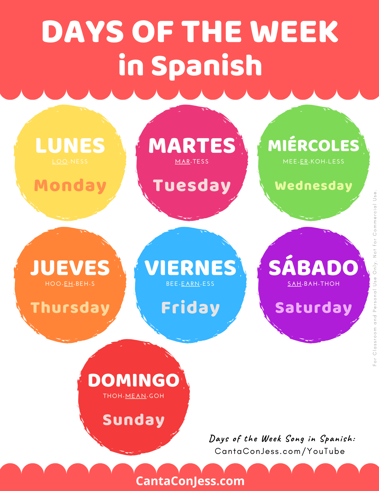 7 Days Of The Week In Spanish Song Lyrics Pronunciation Tips Spanish Words For Kids Spanish Teaching Resources Learning Spanish Vocabulary [ 2000 x 1545 Pixel ]