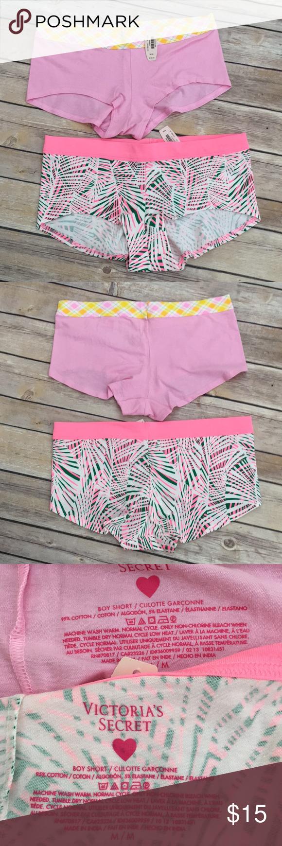 e1f0144eaede6 NWT Victoria's Secret 2pc Boyshorts Bundle Solid pink boyshorts with ...