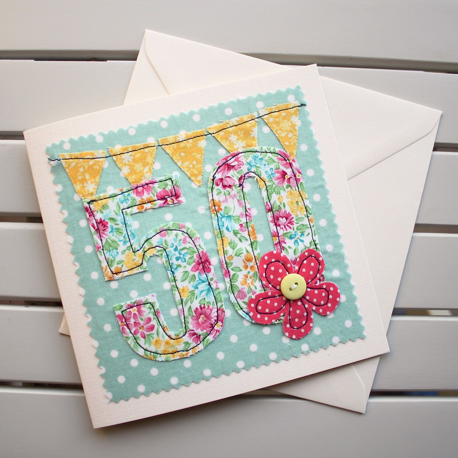 50th Birthday Card Machine Embroidered Optional Personalised
