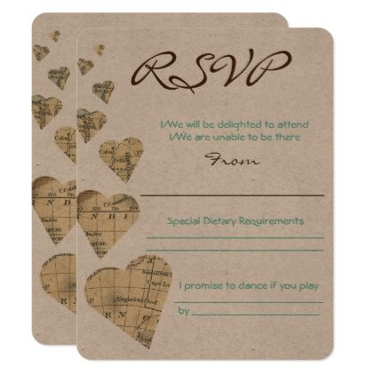 vintage map hearts rsvp card rsvp wedding invitation cards and