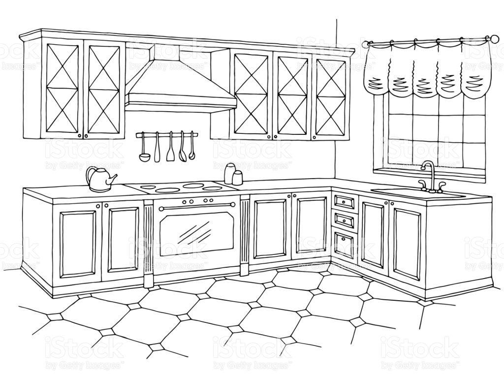 Kitchen Graphic Room Interior Black White Sketch Illustration