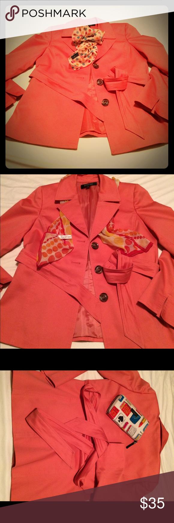 Kasper Peach Peacoat w Belt & Buttons. Barely used. Peach Kasper Peacoat with single breast buttons, belt and pockets. Light weight-fall/spring coat. Cotton / polyester blend. Kasper Jackets & Coats Pea Coats