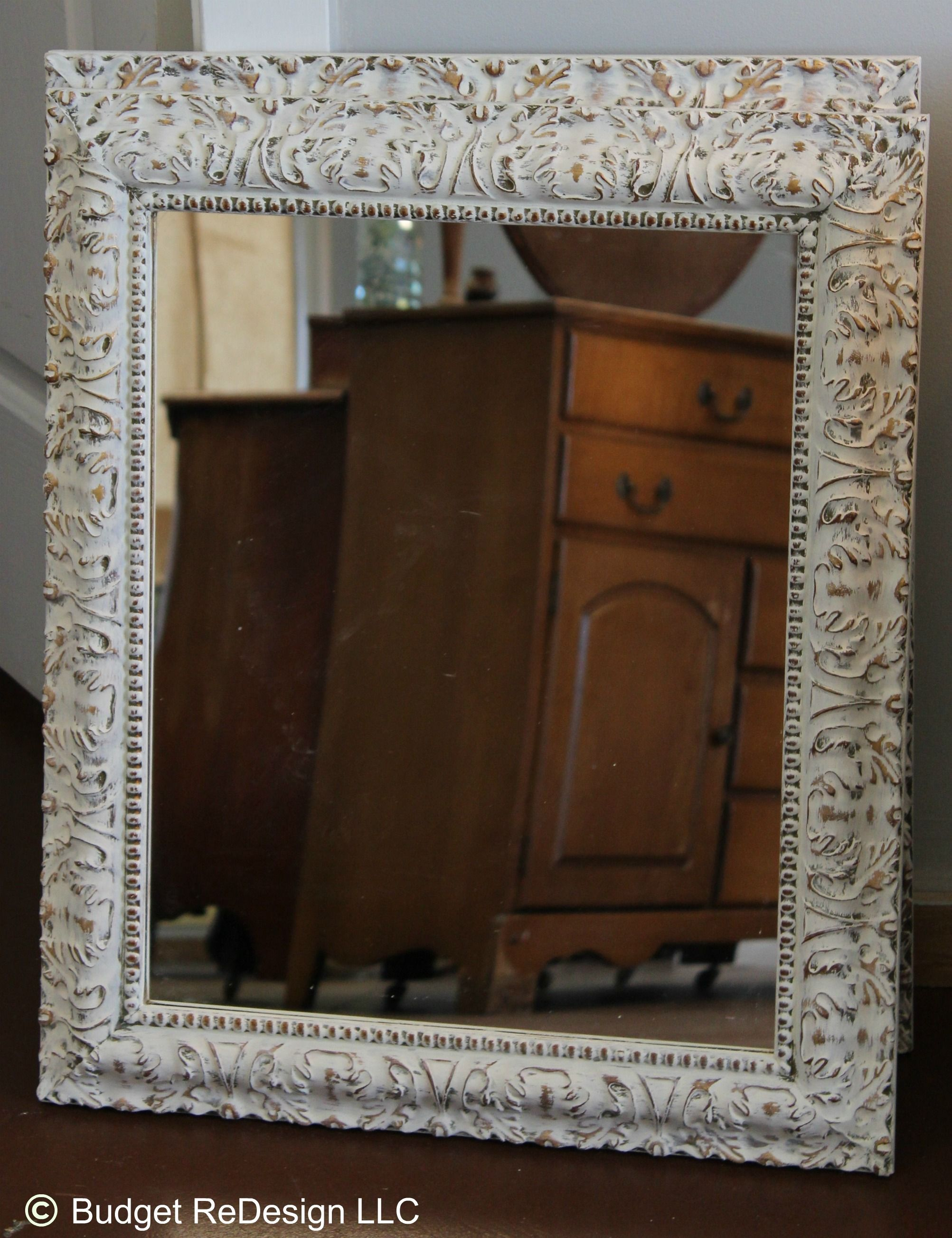 Previously gold mirror turned shabby chic with annie sloan for White and gold mirror