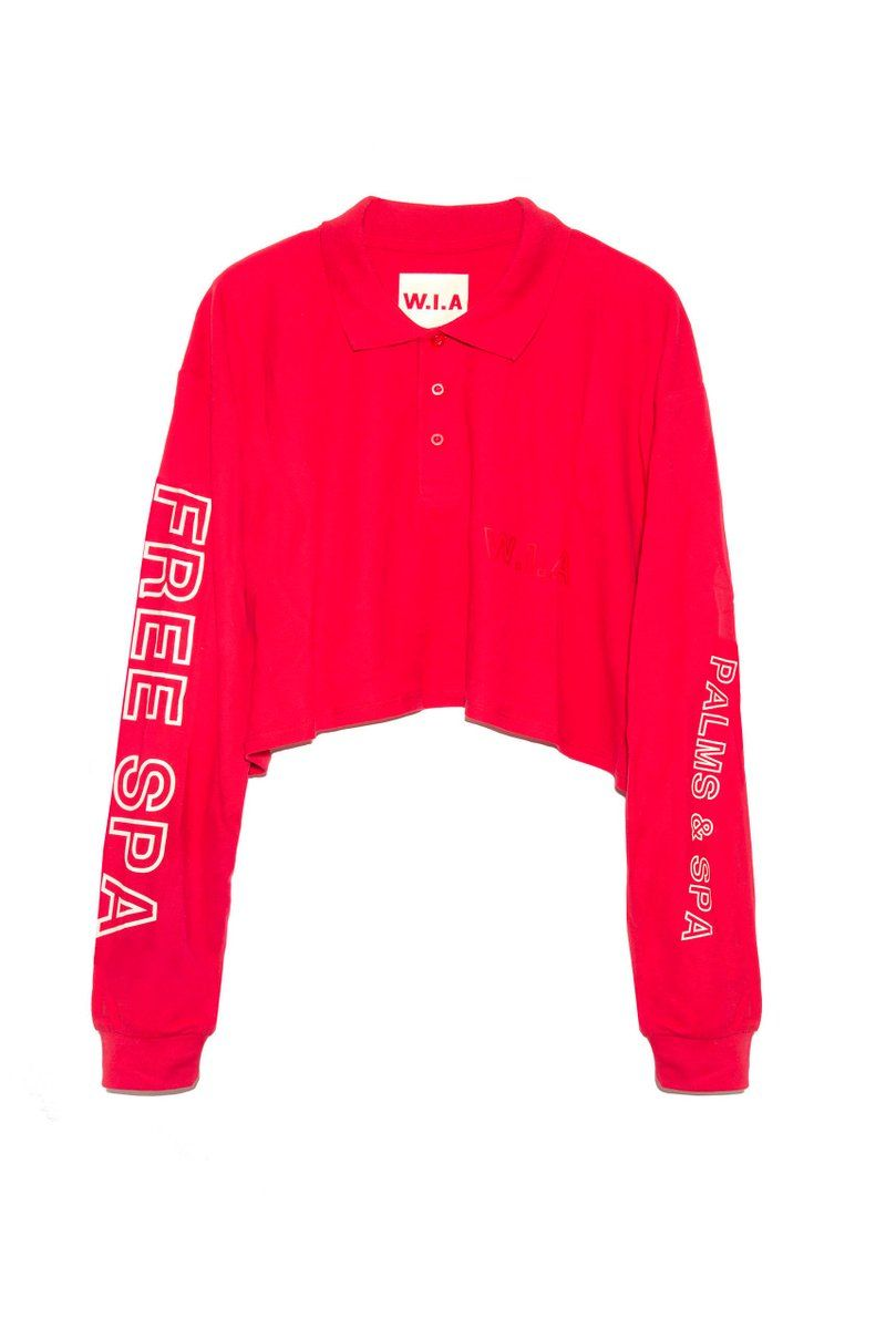 """d3ed514adb250 red oversize crop polo extra long sleeves featuring vinils letters  """"FREE  SPA"""" +"""