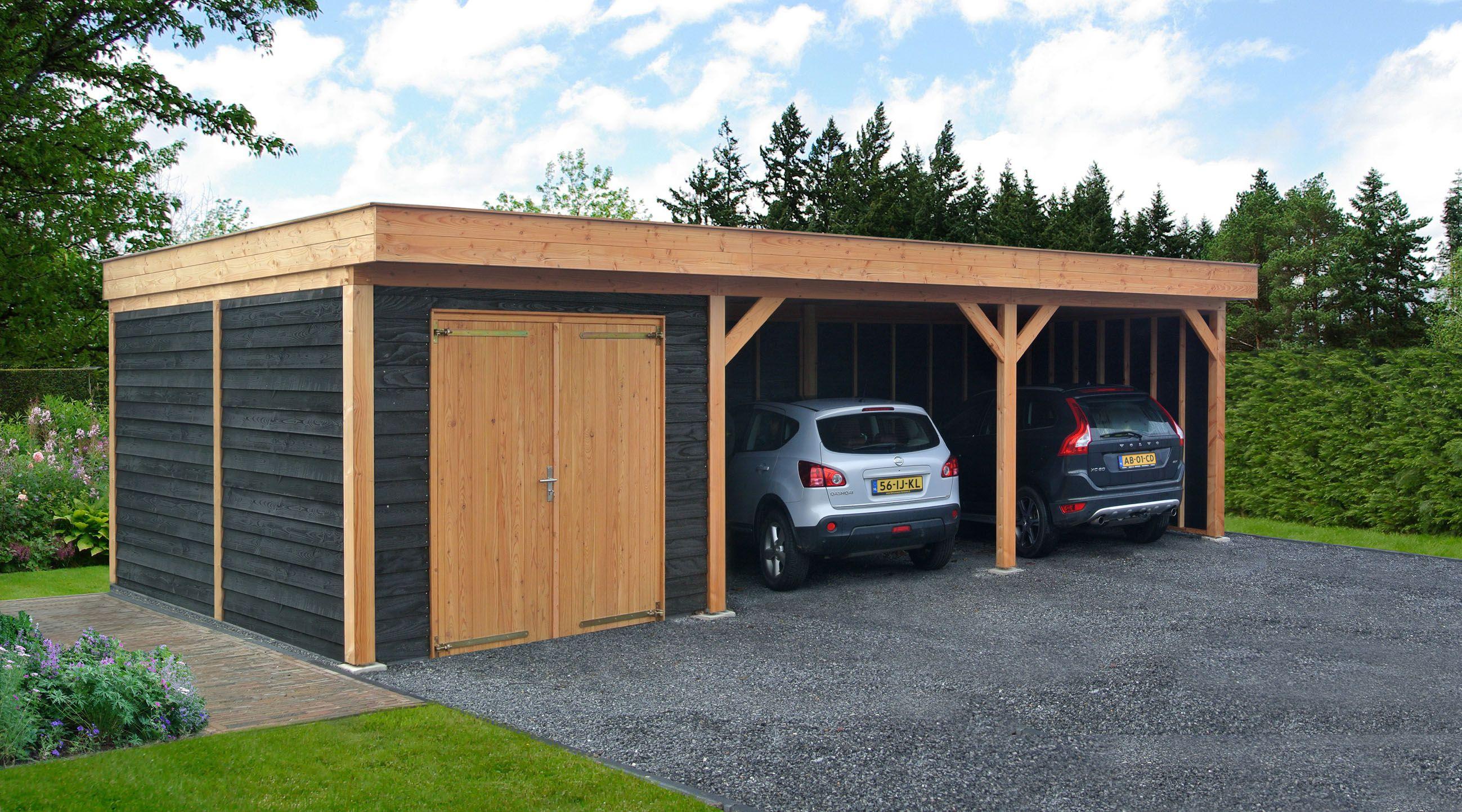 douglas overkapping buitenverblijf plat dak met berging garage met carport