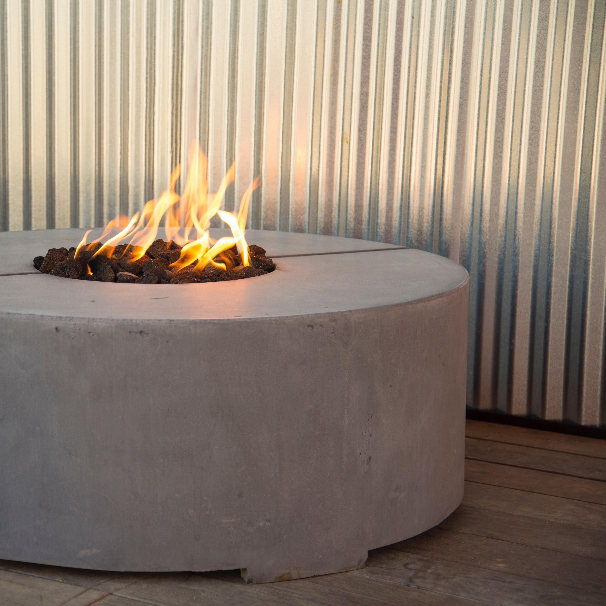 Custom concrete gas firepit by modern concrete and furniture design