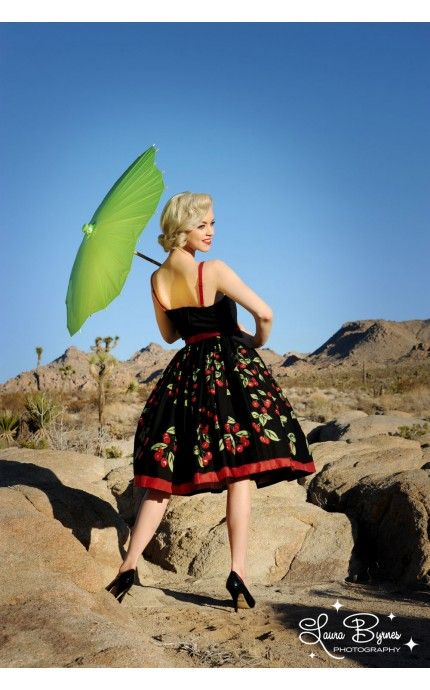 Pinup Couture- Jenny Dress in Cherry Border Print | Pinup Girl Clothing