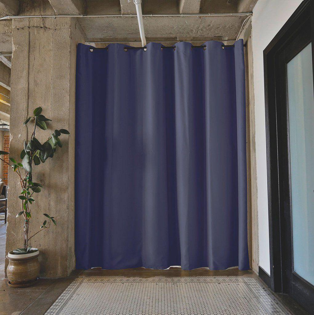 Black Tension Rod Room Divider Curtain 2