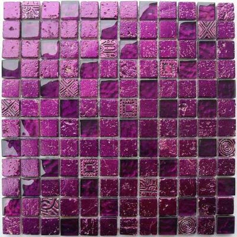 Carrelage mosaique verre et pierre 1 plaque METALLIC VIOLET 12,90 ...
