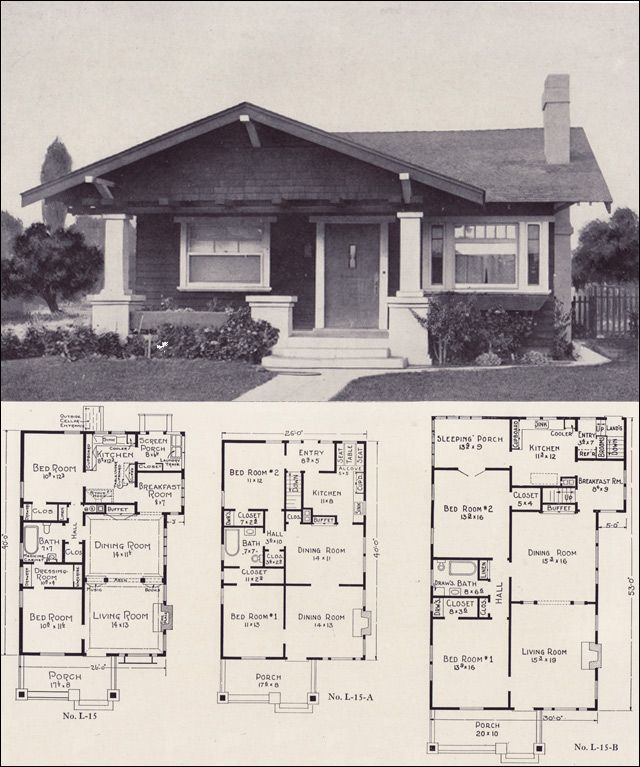 1920s bungalow forward gable cottage style plan no l for Small craftsman bungalow house plans