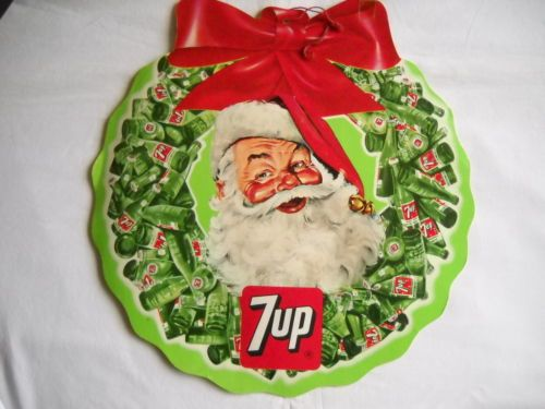 vintage cardboard santa 7 up christmas wreath