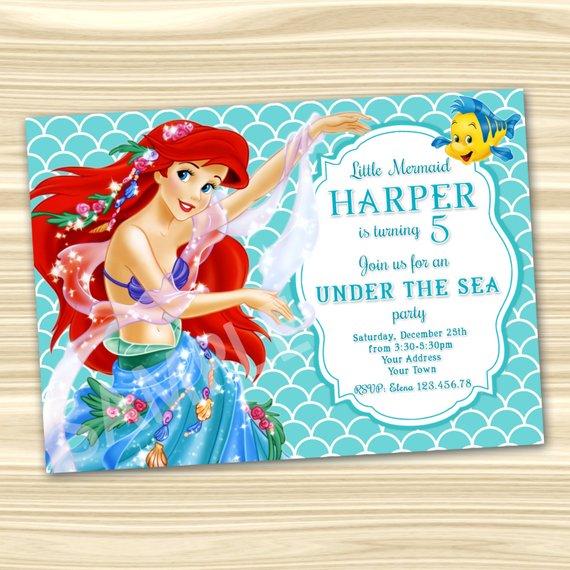 Mermaid Ariel Invitation Little Diy Birthday Party Part