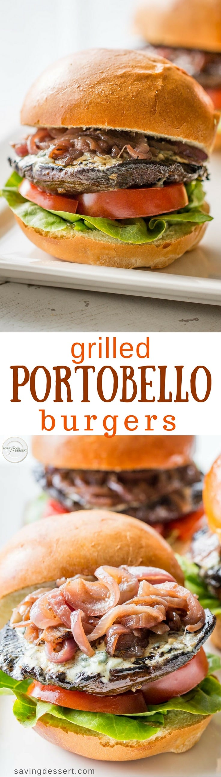 Portobello Burgers with Blue Cheese and Onions Grilled Portobello Burgers with Blue Cheese and Onions - a terrific meatless Monday meal that's inexpensive, quick, easy and will make the burger loving people in your family very happy!