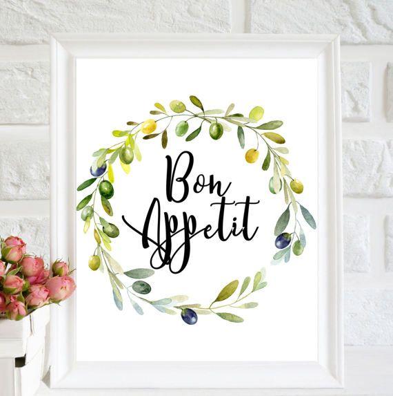 bon appetit printable quote olive wreath print kitchen wall decor rh pinterest com
