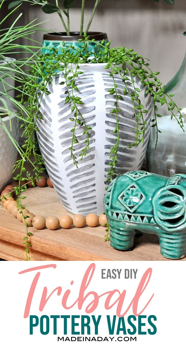 Looking for unique home decor for your boho abode? Make your own DIY Painted Tribal Vases: Faux Pottery from thrift store vases. #globaldecor #globalstyle #bohostyle #pottery #faux #tribal #fauxpottery #DIY #diydecor #painted #vase