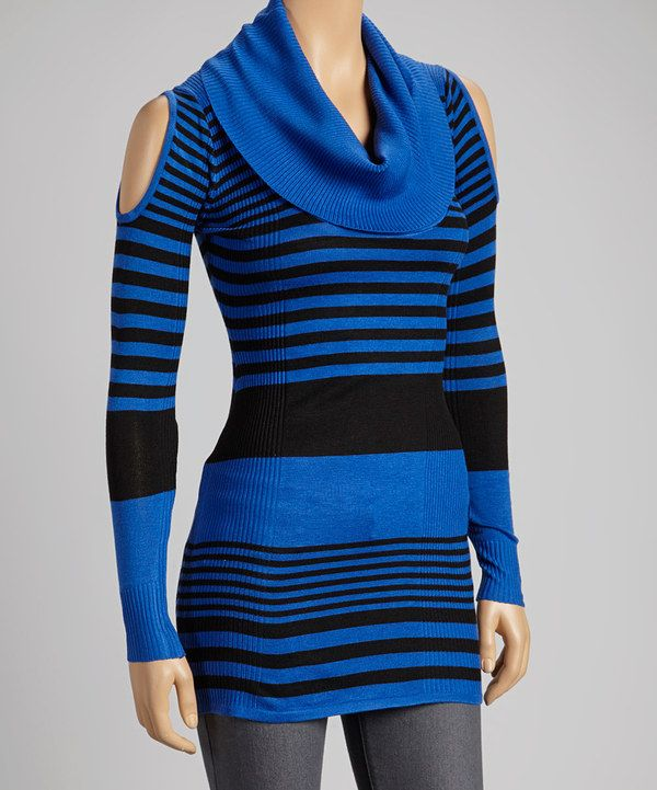 Royal Blue & Black Stripe Cowl-Neck Sweater | Cowl neck