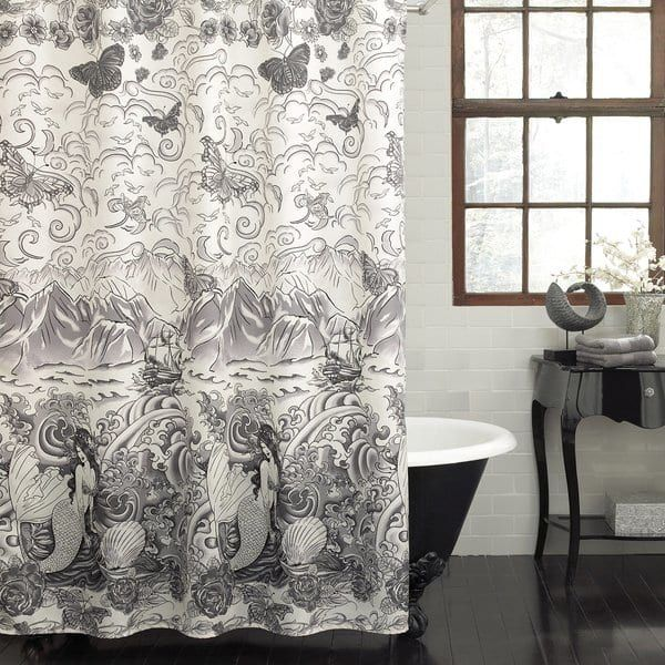 Excell Tateez Mermaid Print Fabric Shower Curtain Black White