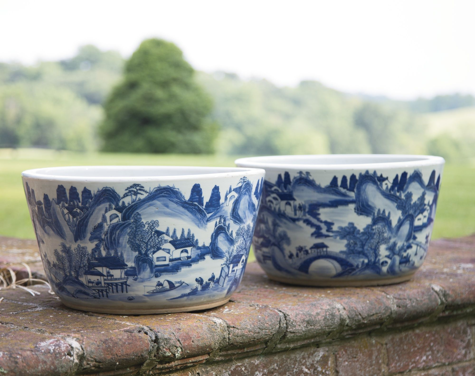 A pair of Chinese blue and white porcelain flower tubs late 19th ...