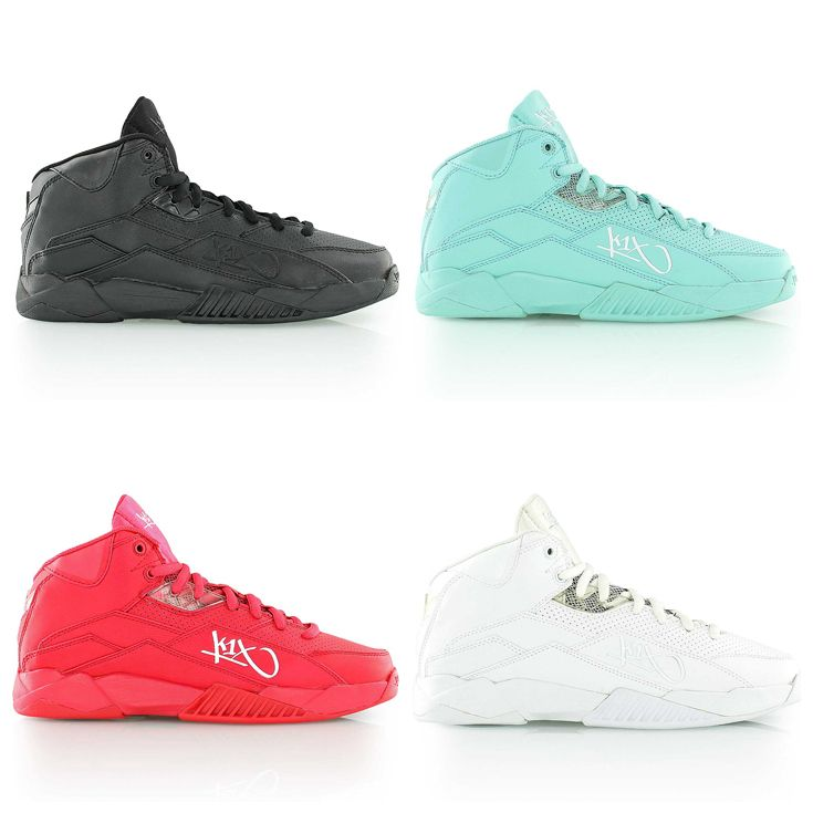 K1X Anti-Gravity basketball shoes in all-black, mint, red and all-white