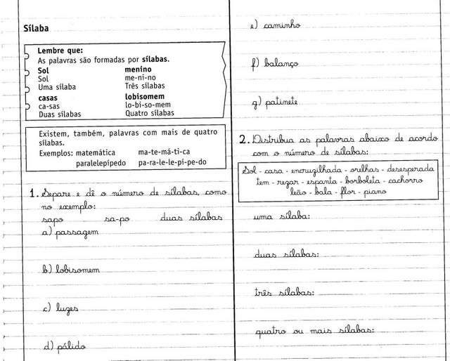 Exercicios De Separacao De Silabas Livro Caderno Do Futuro 1ª