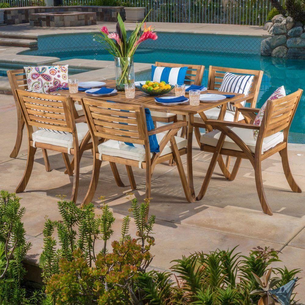 Naomi Wood 7 Piece Rectangular Patio Dining Set With Cushions Patio Dining Set Outdoor Dining Set Acacia Dining Set