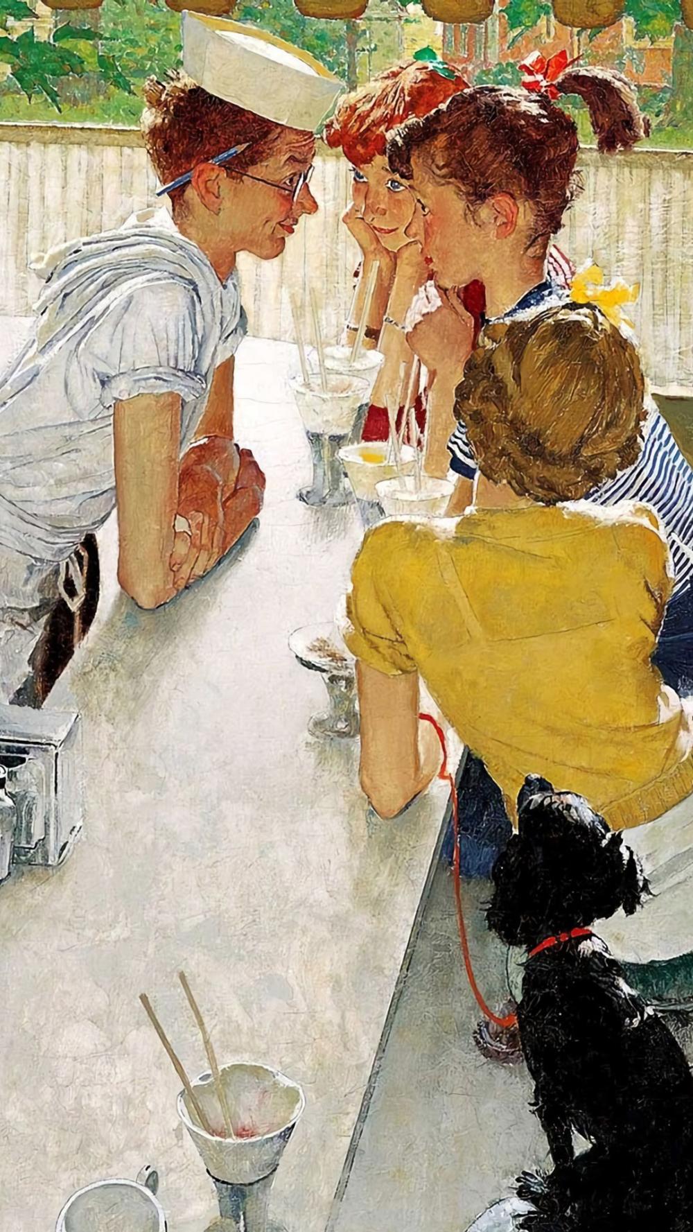 ノーマン ロックウェル Group Of Girls Chat With A Waiter