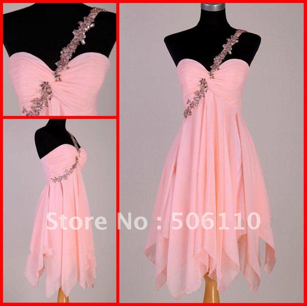 Custom coral peach color fashion one shoulder sheath chiffon short