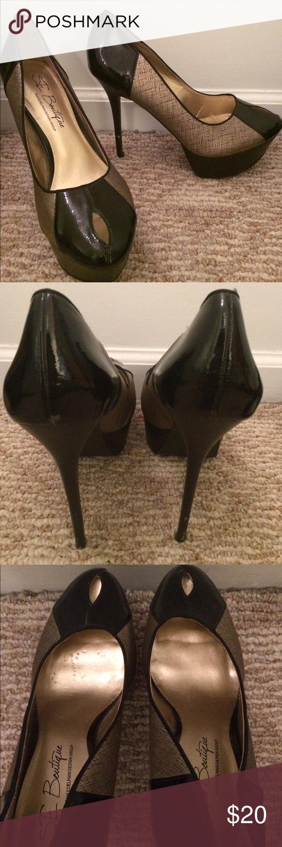 Sam Edelman Pumps Gold and black with platform skinny heel Sam Edelman Shoes Heels