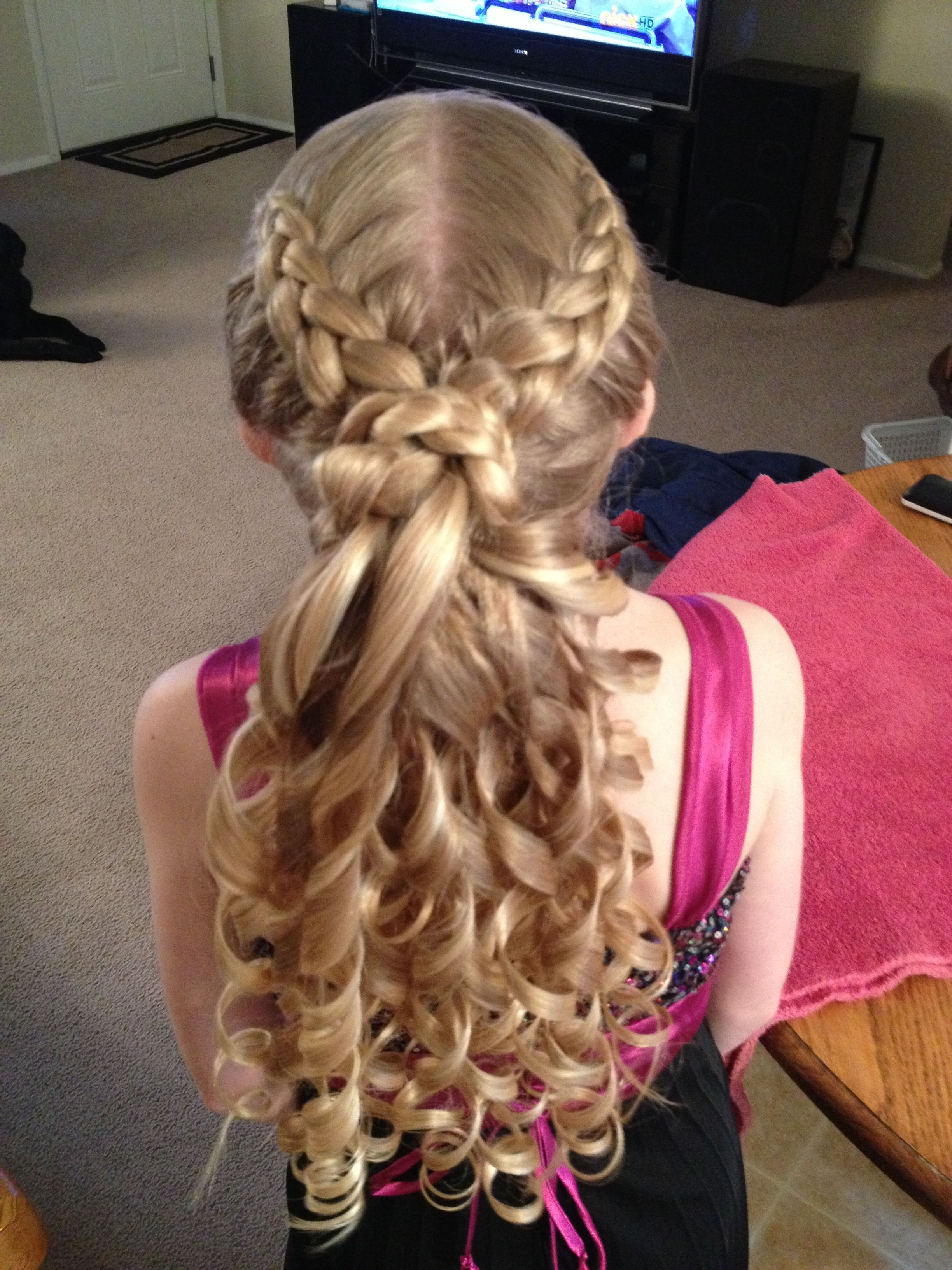Father Daughter Dance hair Three Dutch braids meeting in the middle