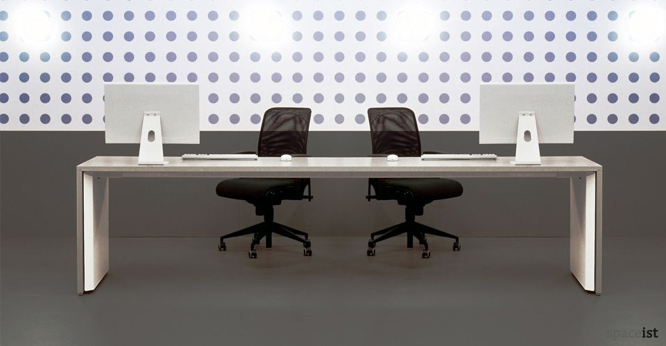 Long Grey Desk To Seat 2 Or 3 People Spaceist London Furniture Reception Desk Home White Desk Office