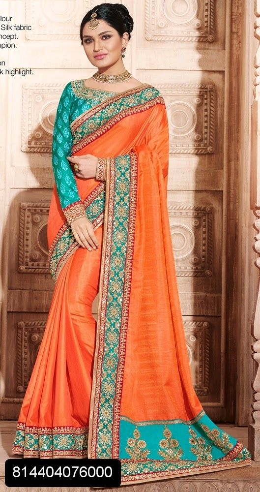 2a7a4533283e65 Orange and blue beautiful wedding plain saree with heavy work on border.