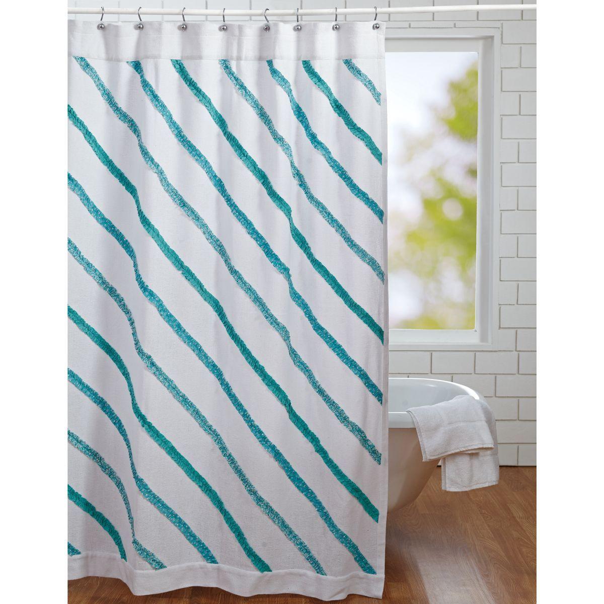 Sea Glass Unlined Diagonal Ruffles On White Burlap Shower