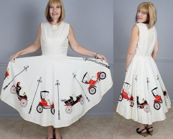 Novelty print skirt cars auto white black red Womens Vintage 50s Swing Dress California by ForeverAfterVintage, $175.00