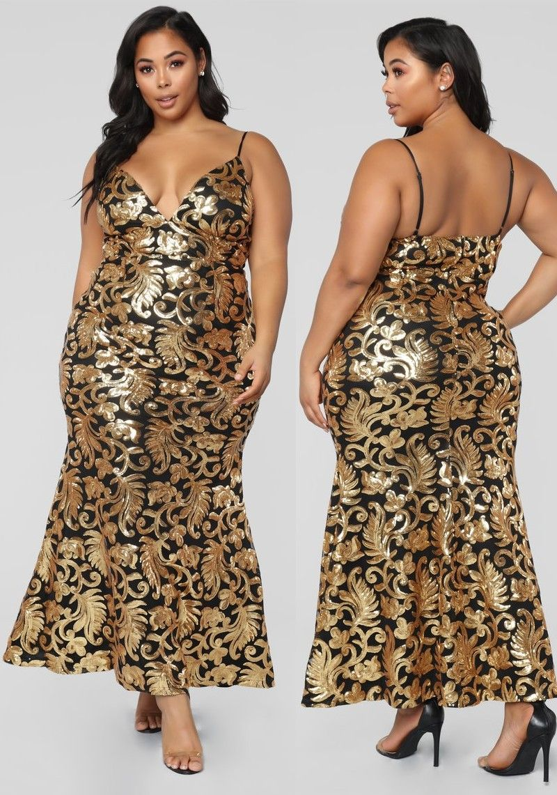 Plus Size The Golden Age Sequin Gown Blackgold 6999 Fashion