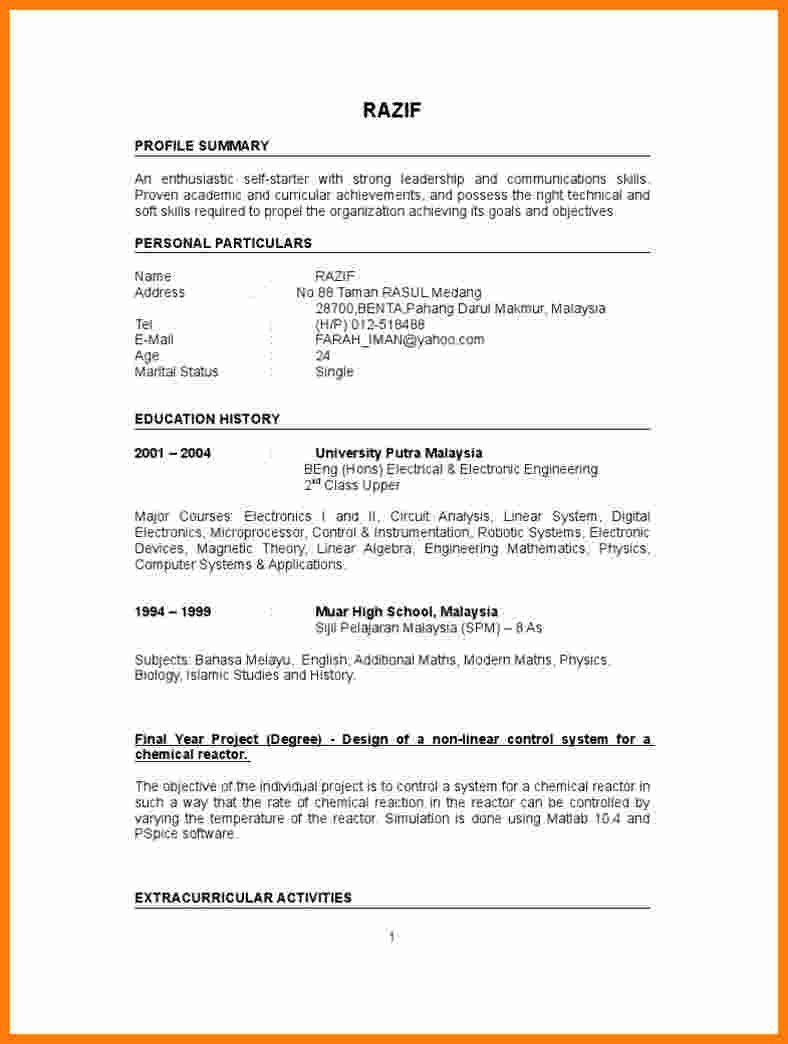 Resume Sample For Fresh Graduate Interesting 5 Cv Template For Fresh Graduate Of 40 Cool And Student Resume Template Job Resume Samples Sample Resume Templates