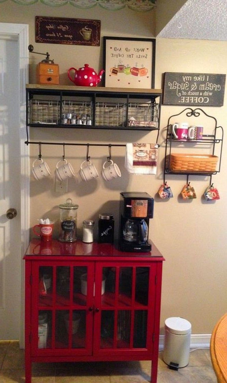 35 Smart Diy Coffee Bar Design Ideas For Kitchen Kitchens Kitchendesign Kitchenideas Coffee Bar Design Diy Coffee Bar Bar Design