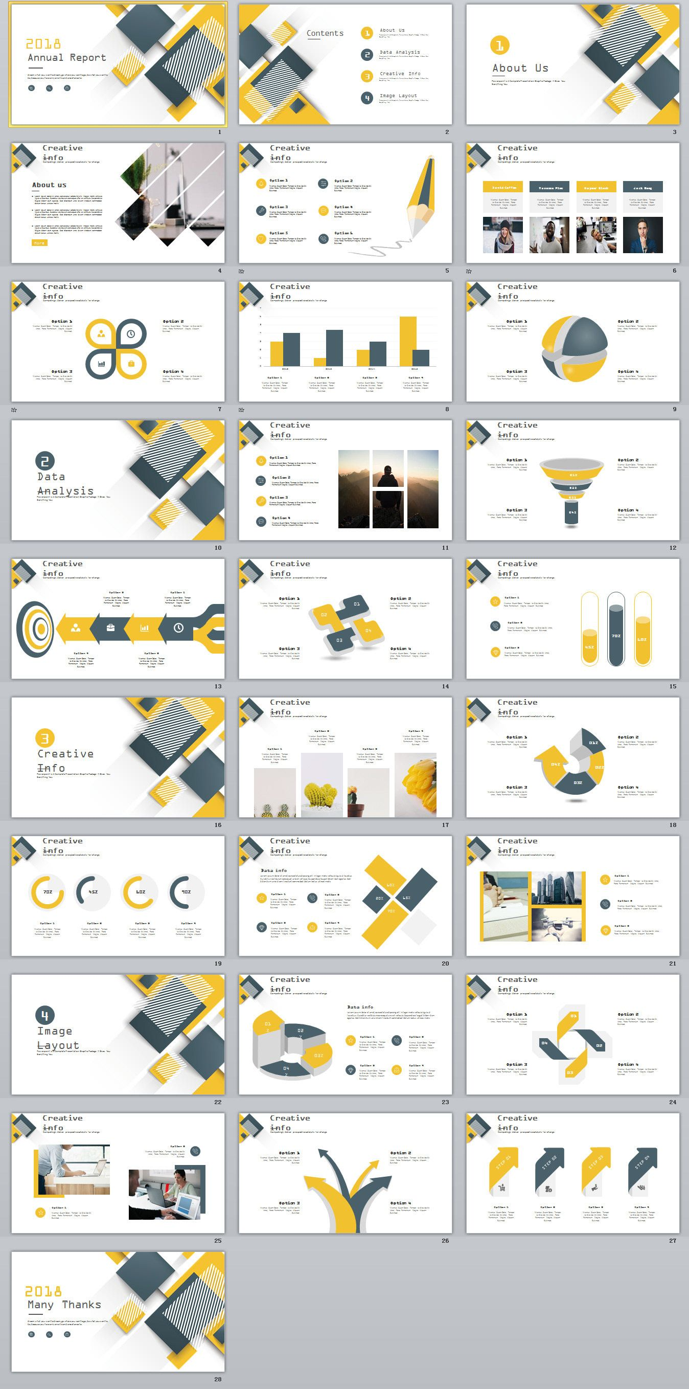 28 Yellow Business Year Plan Powerpoint Template On
