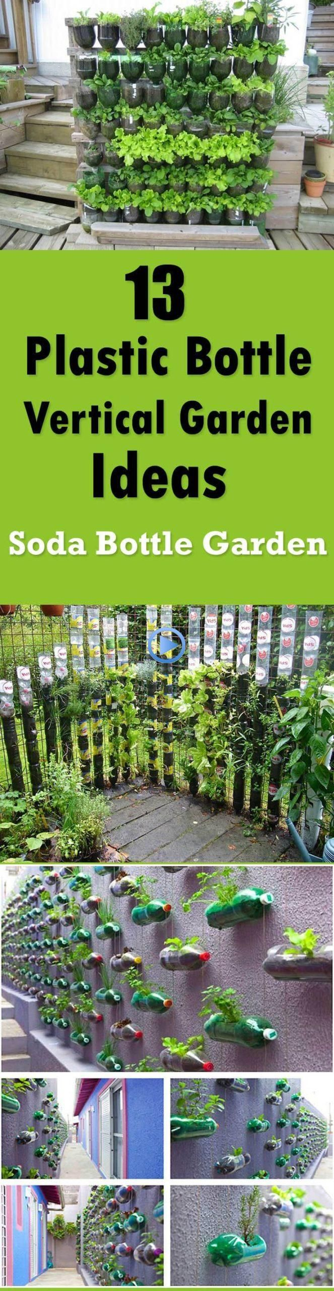 13 Soda Bottle Vertical Garden Ideas #gardening