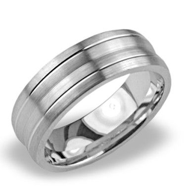 Mens Wedding Band with a Carved Dual Row Satin Finish for Only