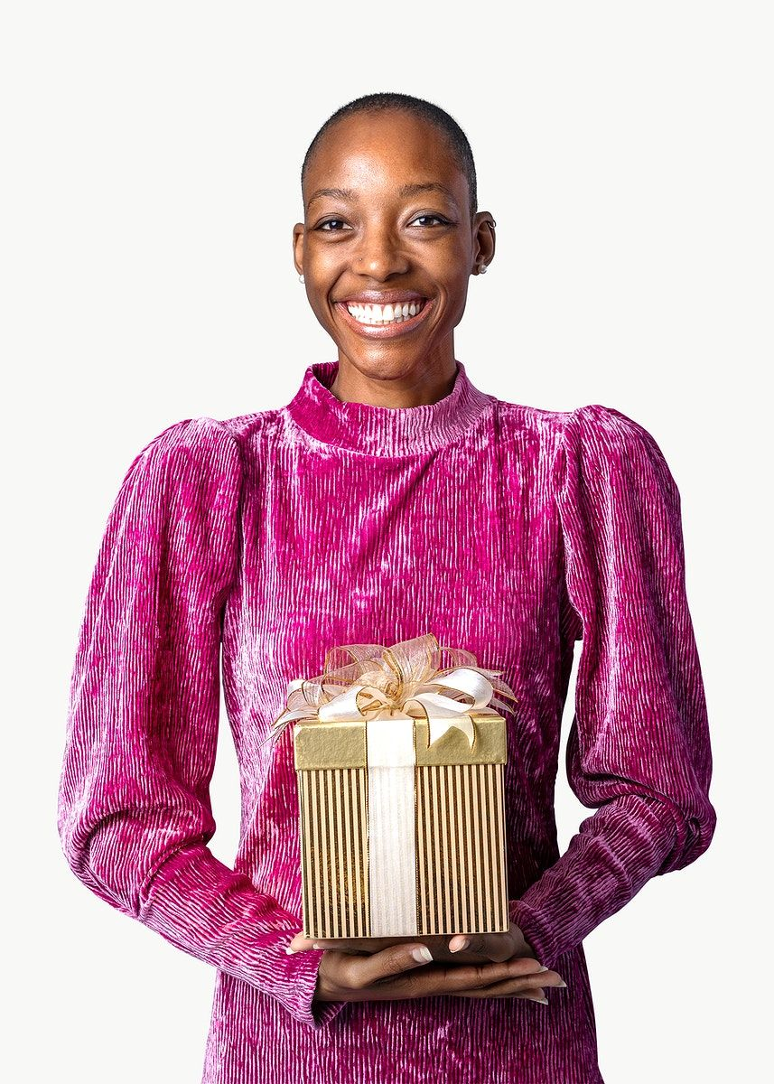 Download Premium Png Of Happy Black Woman Holding A Gift Box Transparent