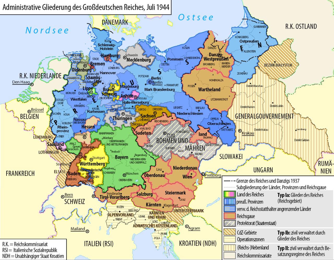 deutschland 1930 karte Grossdeutsches Reich Staatliche Administration 1944   Geschichte