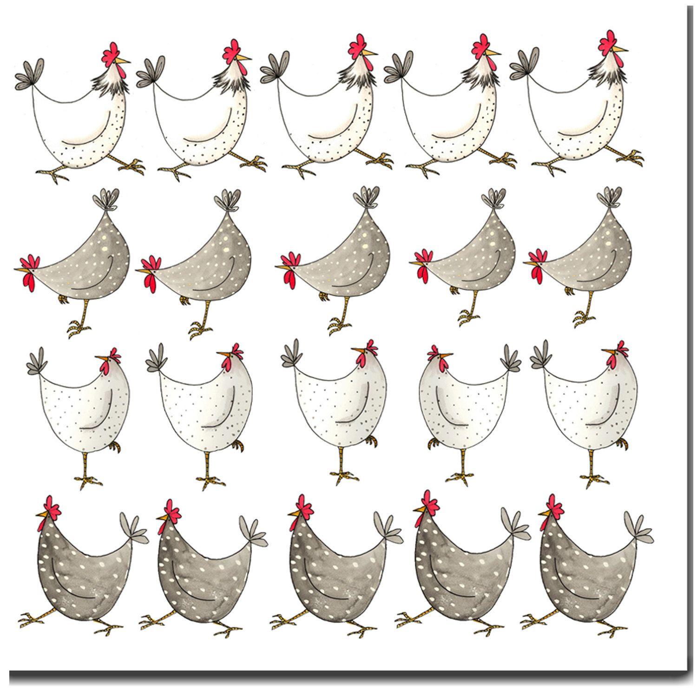Poulet multi blanc carte de voeux carte danniversaire - Dessins de poule ...