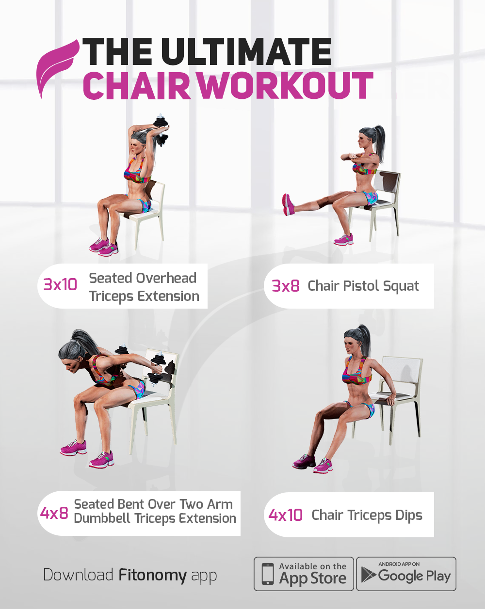 Don T Have Time For The Gym Try This Ultimate Chair Workout At Home Fitonomy Chairworkout Homeworkout Workout Workout For Beginners Chair Exercises