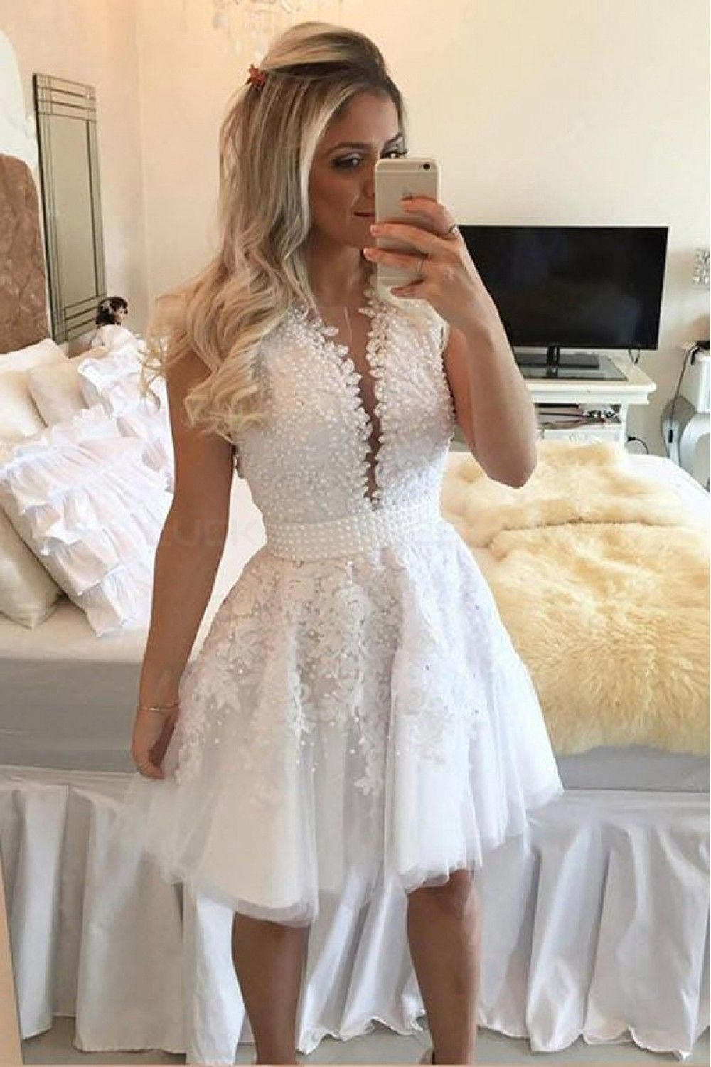 b8449650857 Beaded Lace Short White Prom Homecoming Cocktail Graduation Dresses 3020964