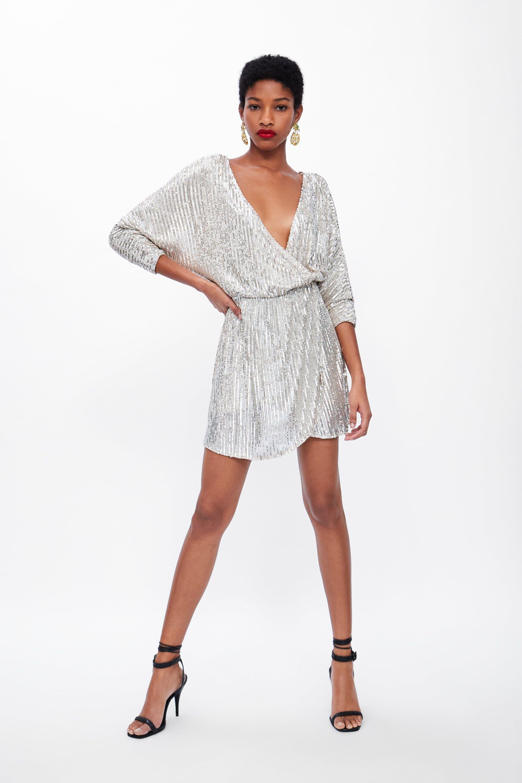 Sequin Wrap Dress View All Dress Time Woman Corner Shops Zara United States Crossover Dress Wrap Dress Dresses
