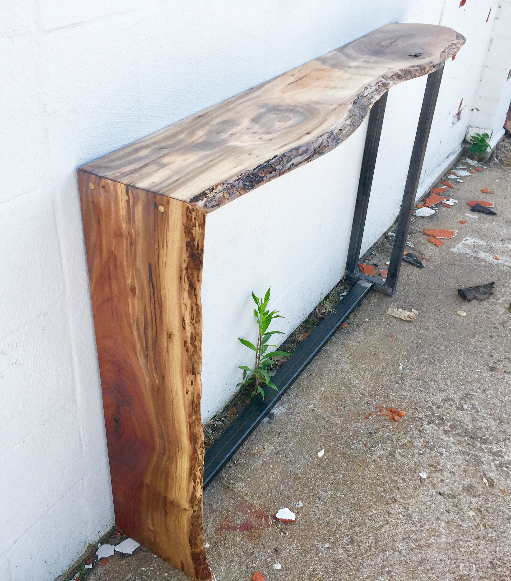 Live Edge Walnut And Steel Waterfall Sofa Table Entry