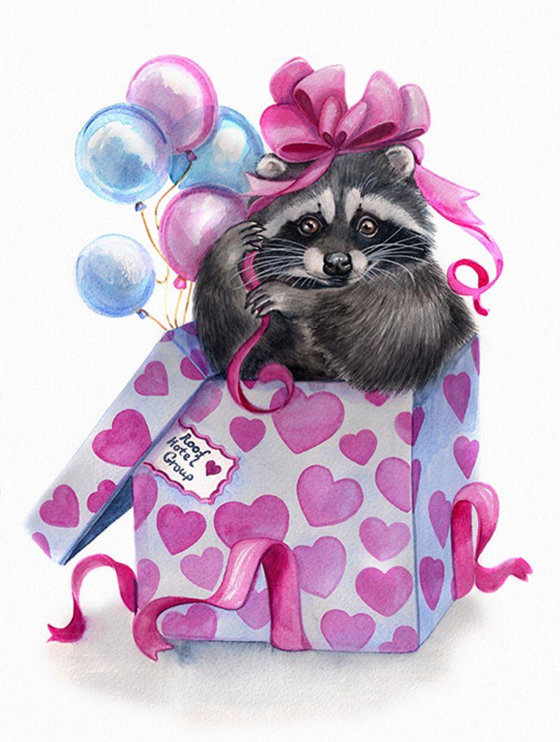 Лучший твой подарочек - это Я!.jpg | Raccoon | Pinterest | Waschbär ...