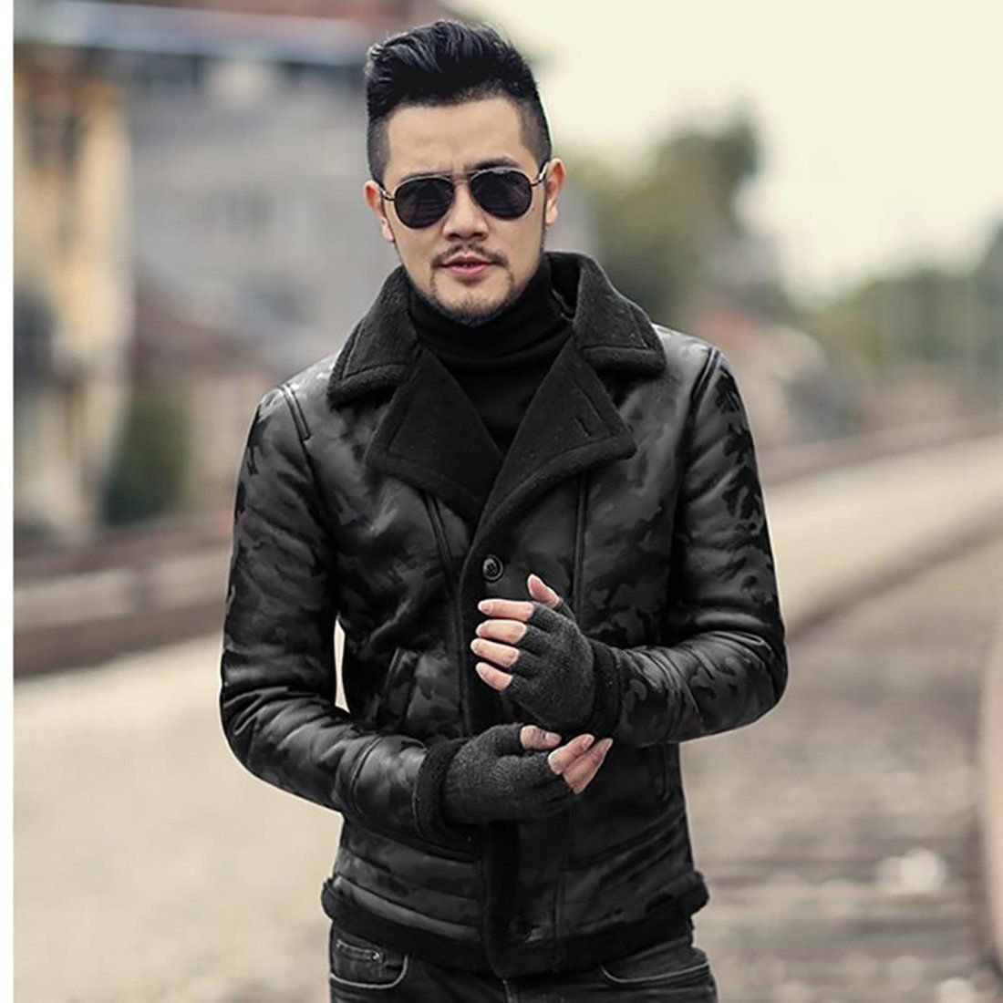Men's Casual Jacket Warm Camouflage Fur Lamb Woolen Collar