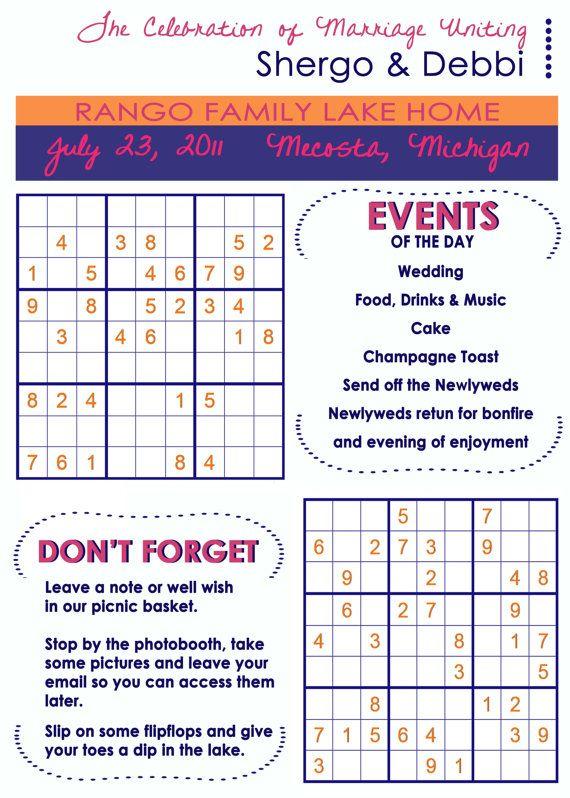 Sudoku Wedding Program Like The Idea Of A Fun Wedding Program Fun Wedding Programs Wedding Program Fans Wedding Programs