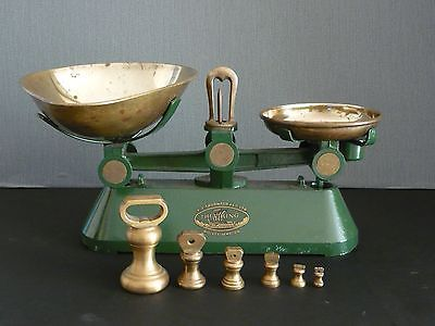 Vintage English Kitchen Scales The Viking With Brass Bell Shaped Weights Vintage Scale Kitchen Scale Food Scale